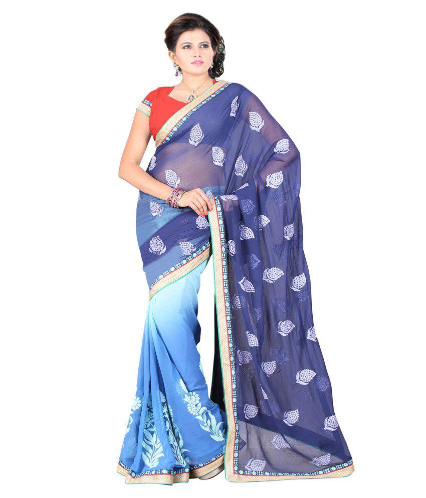 Ansu Fashion-Surat Purple FauxChiffon Saree