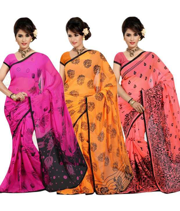 Desi Diva Orange chiffon Pack of 3