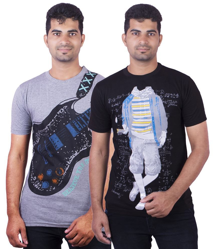 Dkclues Cool Pack of 2 Black & Gray Half Sleeve Graphic T Shirts for Men