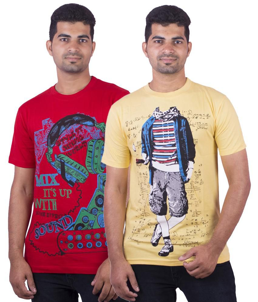 Dkclues Pack of 2 Red & Yellow Half Sleeve Graphic T Shirts for Men