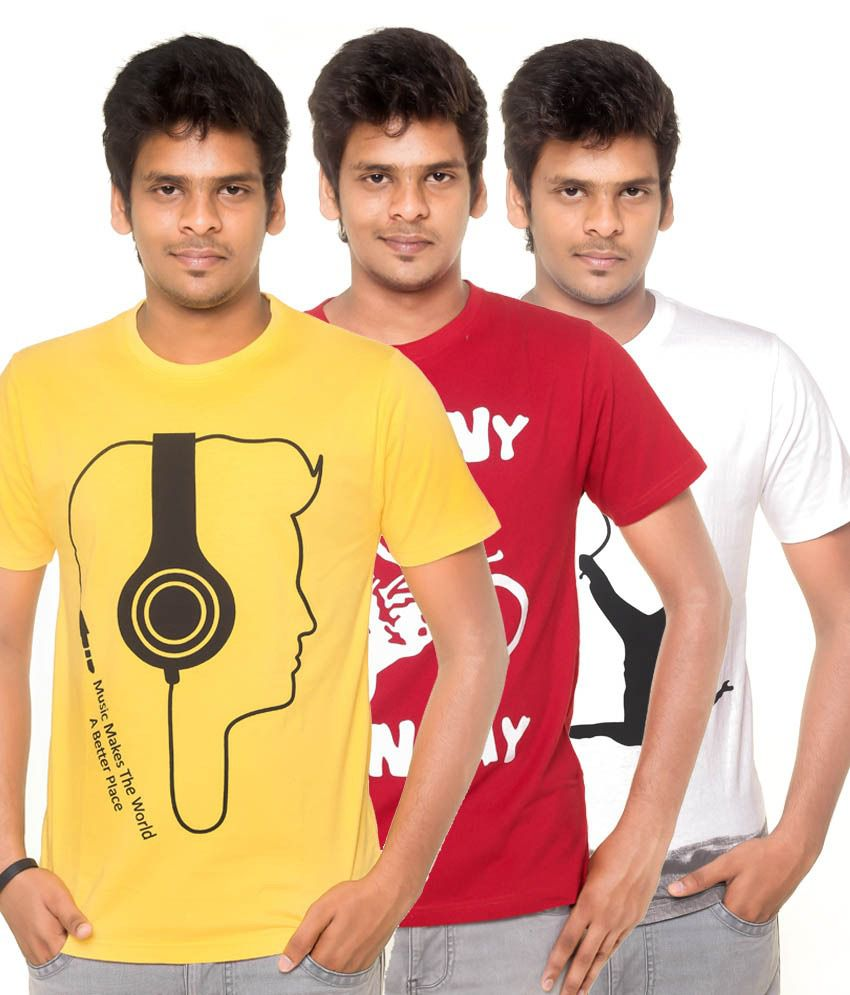 Yaari Cotton Multicolour Round Neck Half Sleeves Printed T Shirt (Pack of 3)