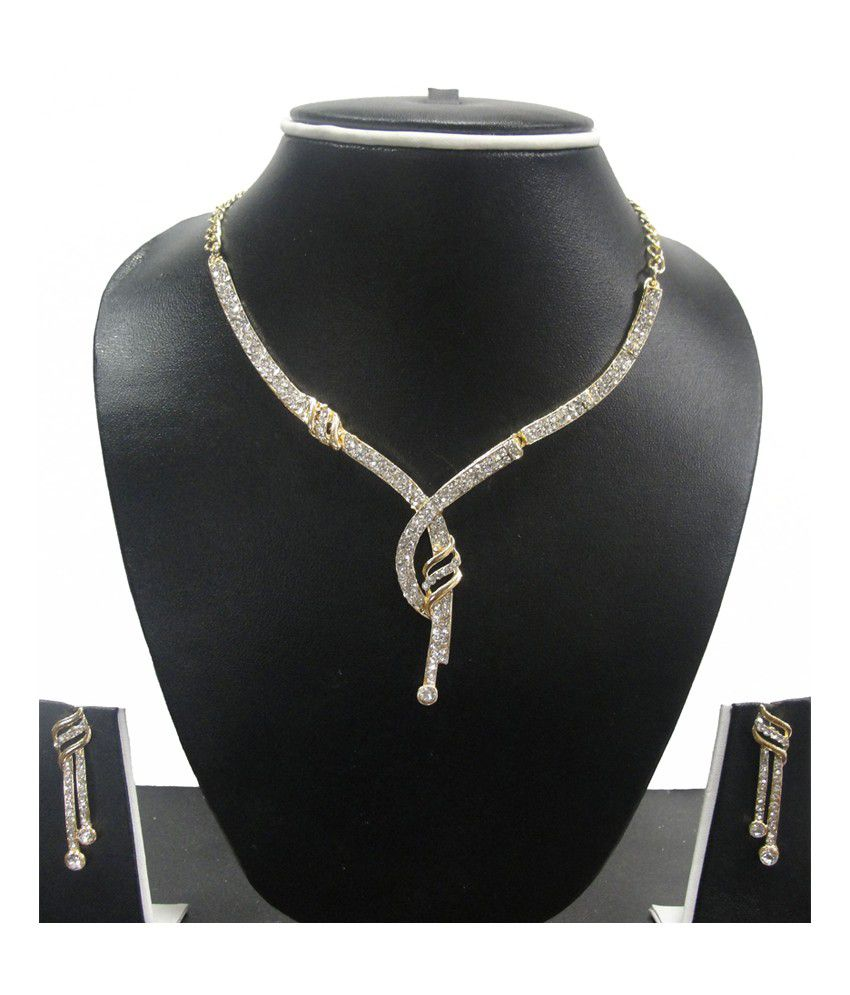 Zaveri Pearls Golden Alloy Austrian Diamonds Necklace Set