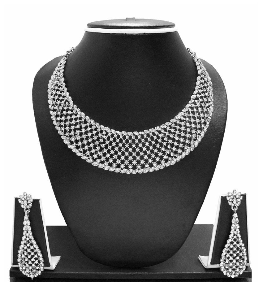 Zaveri Pearls Silver Alloy Austrian Diamonds Necklace Set
