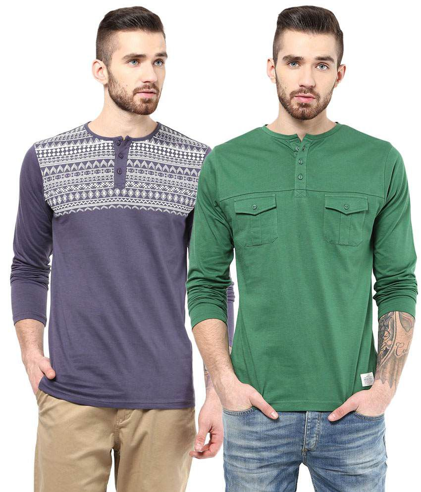 Atorse Exclusive Pack of 2 Purple & Green Full Sleeve T Shirts for Men