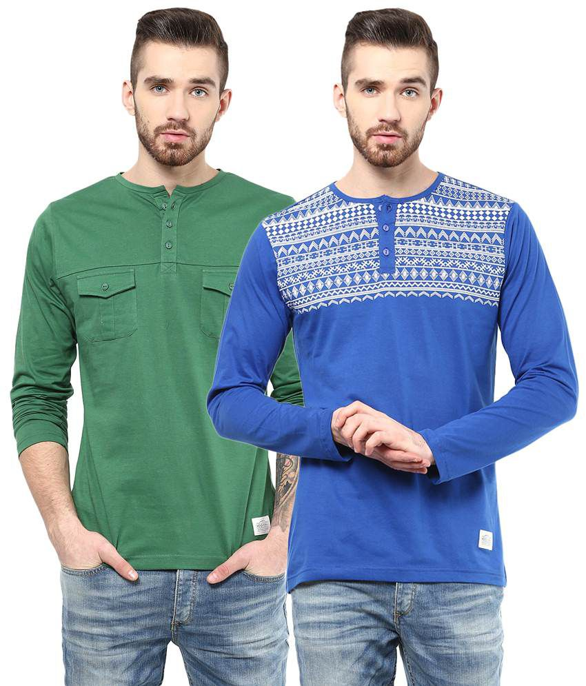 Atorse Pack of 2 Blue & Green Full Sleeve T Shirts for Men