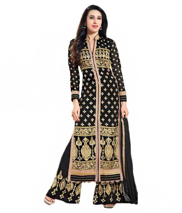 Global Fashion Black Faux Georgette Unstitched Dress Material