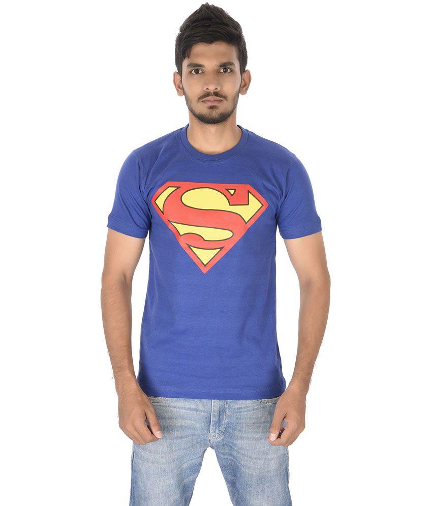 Heman Blue Cotton Round Neck Printed T Shirt