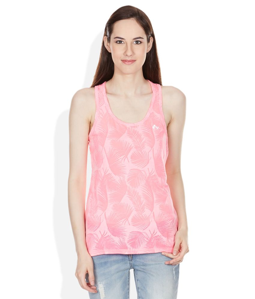 Buy Only Neon Pink Printed Racer Back T Shirt Online At