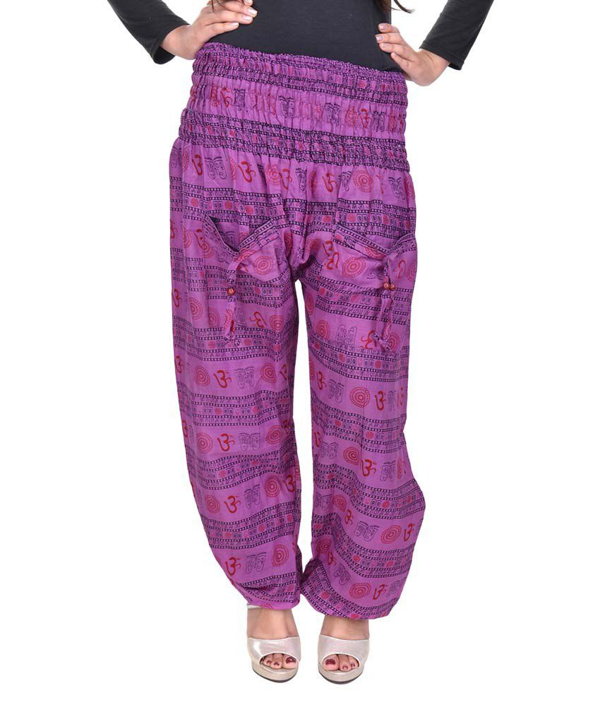 2dbddc046584 Buy Rajasthani Sarees Purple Cotton Pajamas Online at Best Prices in India  - Snapdeal
