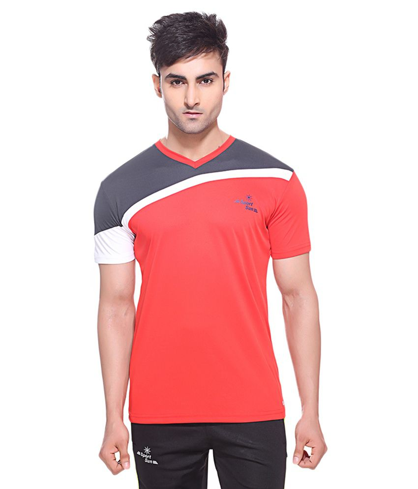Sport Sun Red Polyester Fitness T Shirt