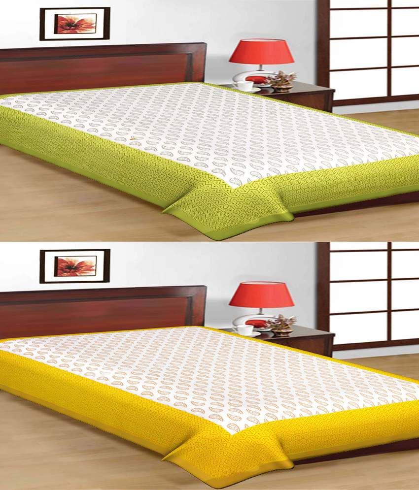 UniqChoice Rajasthani Traditional Printed 2 Single Bed Sheet Combo