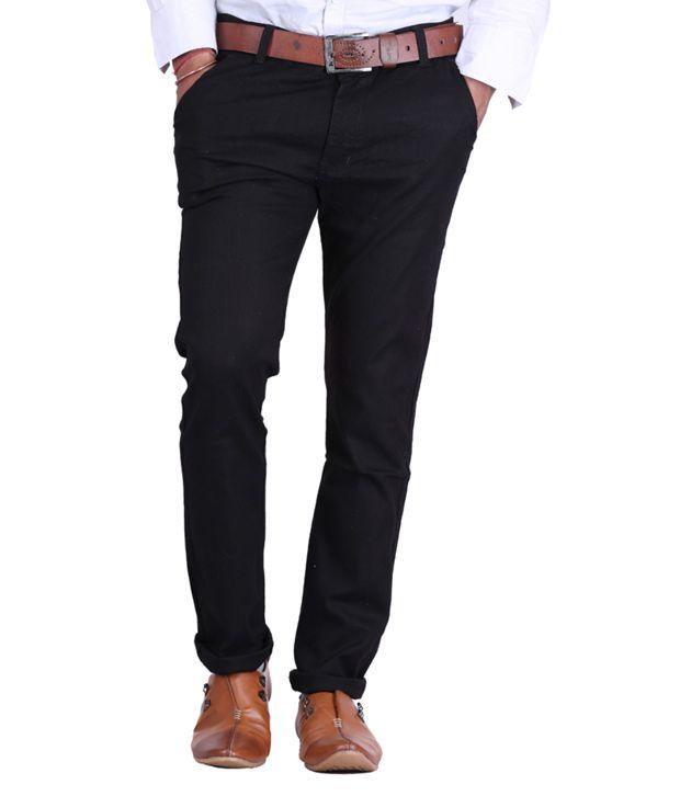 Haltung Black Cotton Lycra Formal Trousers