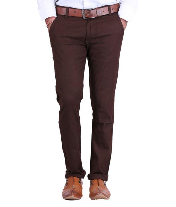 Haltung Brown Cotton Lycra Formal Trousers