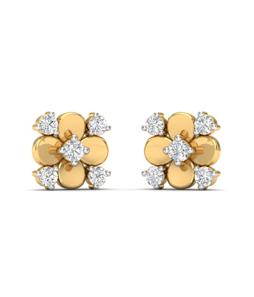 Theme Jewels Floral ER-0037, Certified Real Diamond & 14Kt Hallmarked Yellow Gold Earring