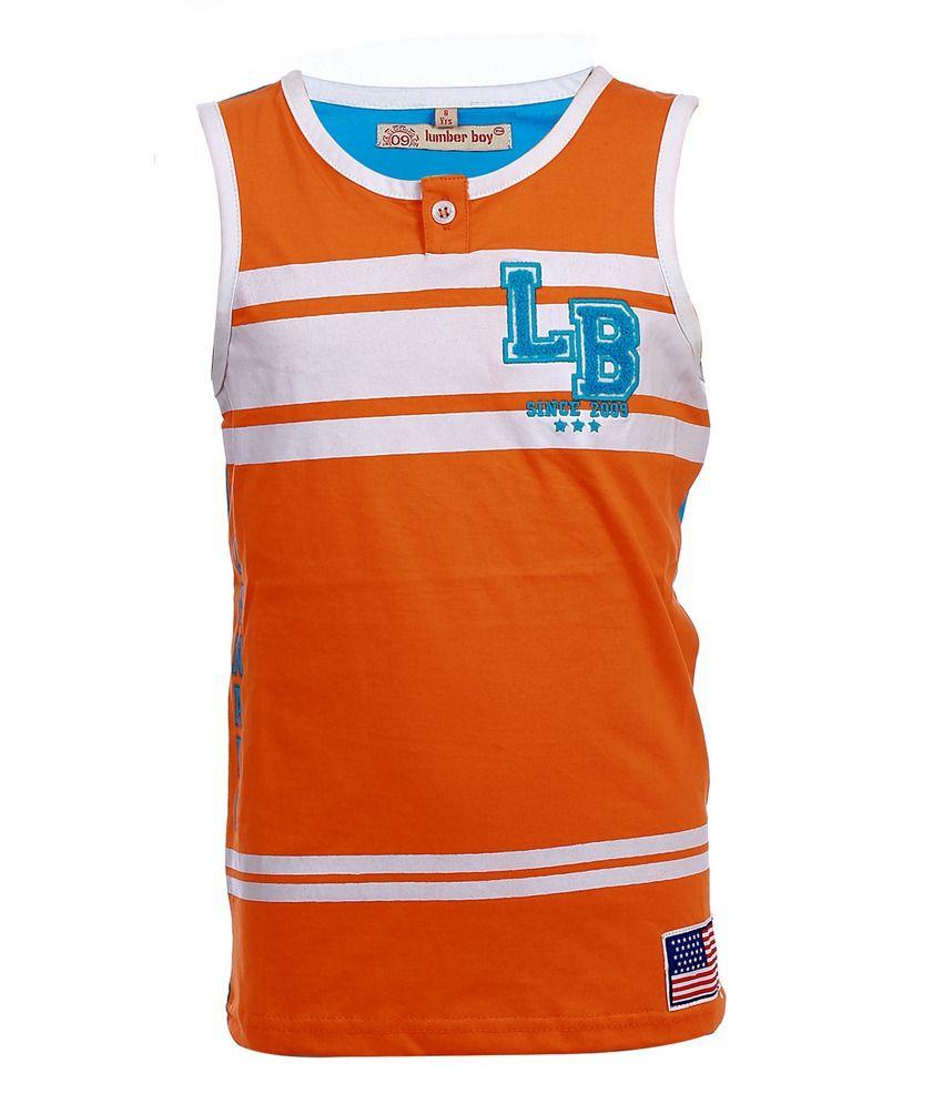 Lumber boy sleeveless orange placket sando for kids buy for Cheap decking boards b q