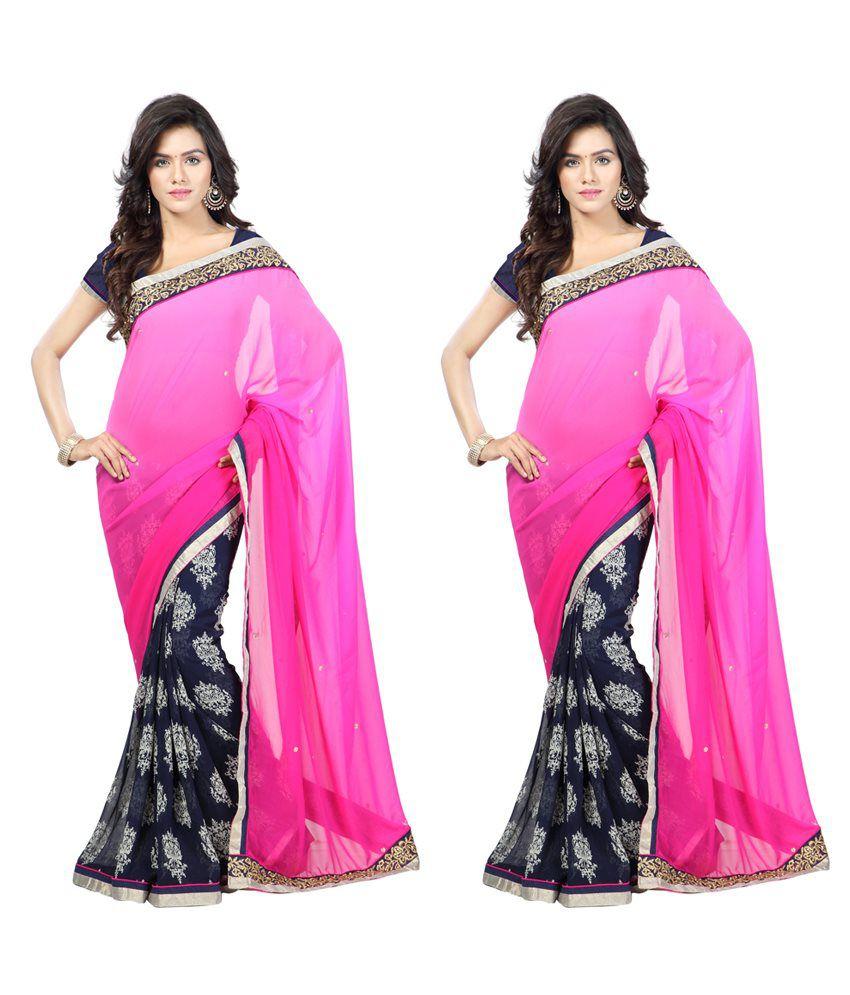 Sai Nandini Blue Faux Chiffon Pack of 2