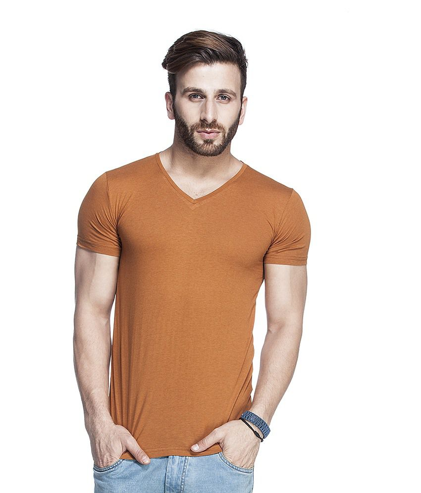 Tinted Brown Cotton Blend Half Sleeves T Shirt