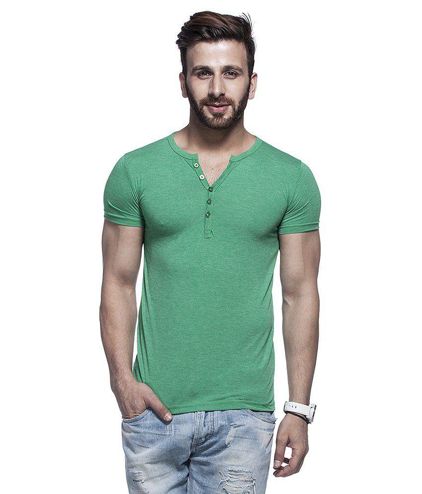 Tinted Green Cotton Blend Half Sleeves T Shirt