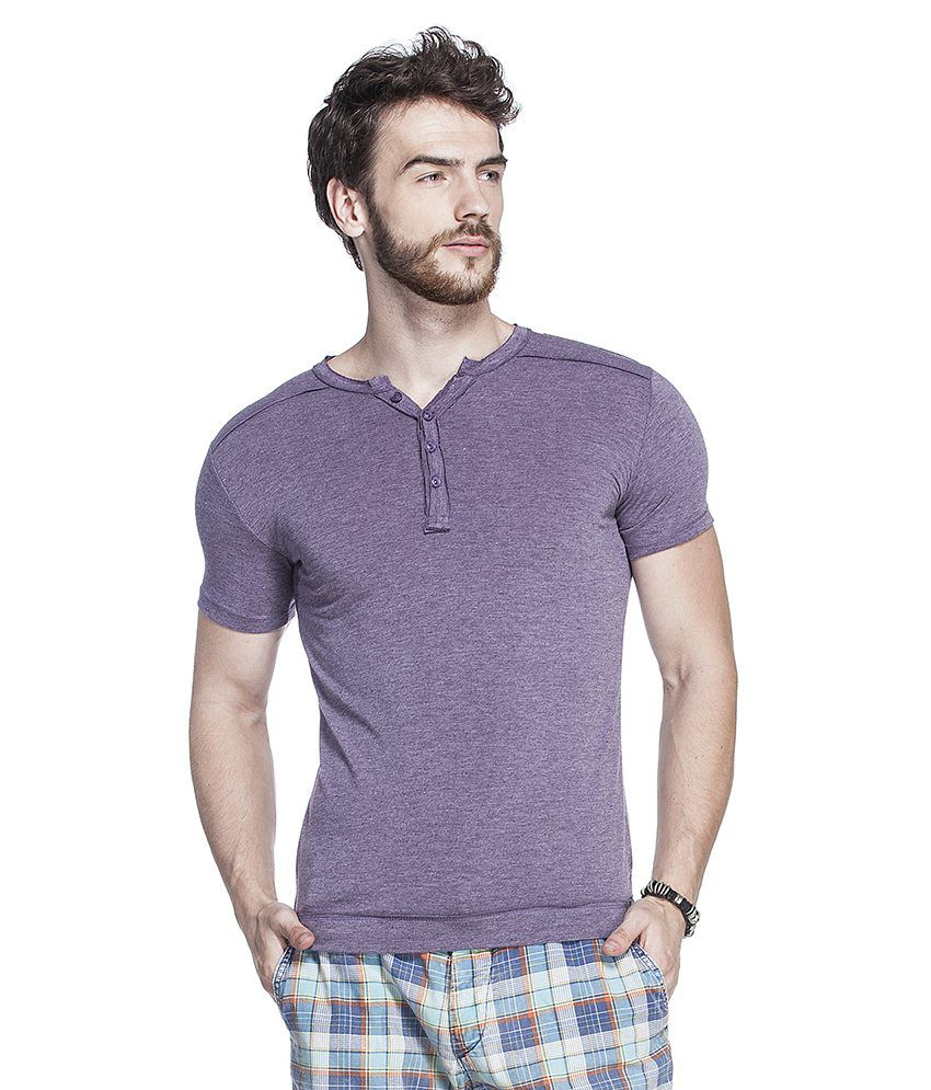 Tinted Purple Cotton Blend Half Sleeves T Shirt