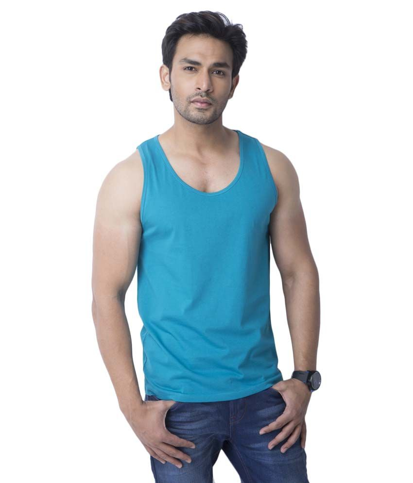 Cult Fiction Turquoise Cotton Round Neck Sleeveless Sleeves T-shirt