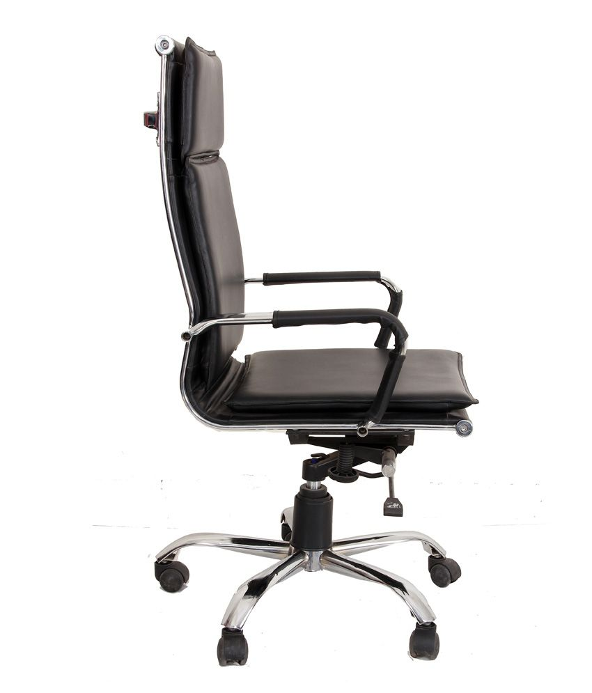 Xavier Leatherette Dining Chair Black: Leatherette Executive Chair In Black