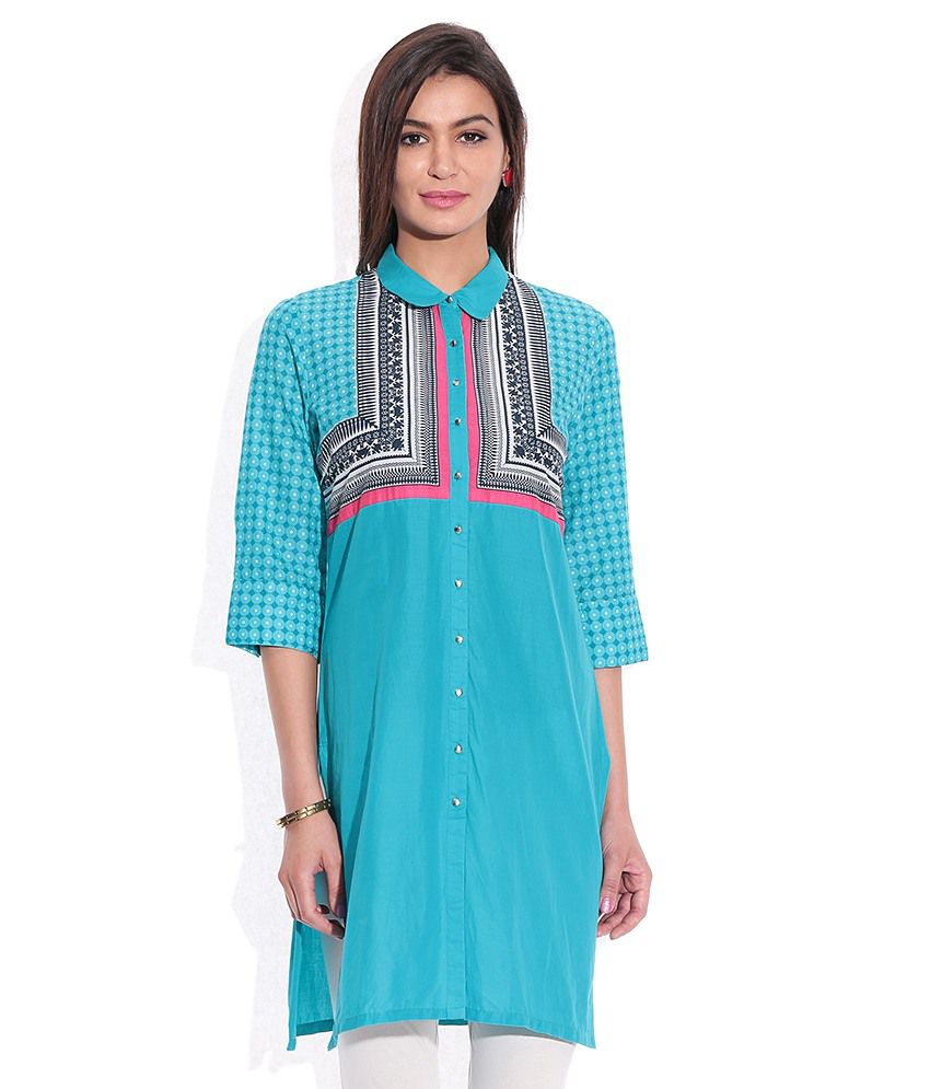 26b9a8f2d7 W Turquoise Blue Printed Kurta - Buy W Turquoise Blue Printed Kurta Online  at Best Prices in India on Snapdeal