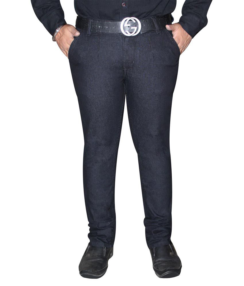 Axsgow Black Cotton Slim Fit Jeans