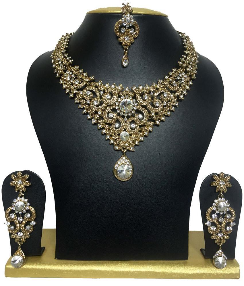 Sewad Dazzling Gold Plated Australian Diamond Necklace Set with Maang Tika