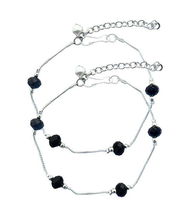 Beadworks Stunning Beaded Black Crystal Anklets