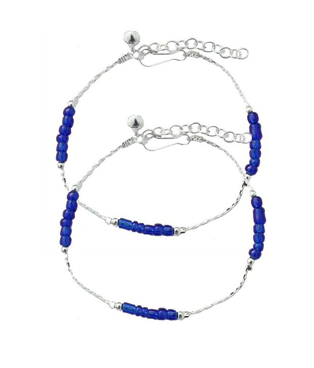 Beadworks Stunning Beaded Blue Anklets