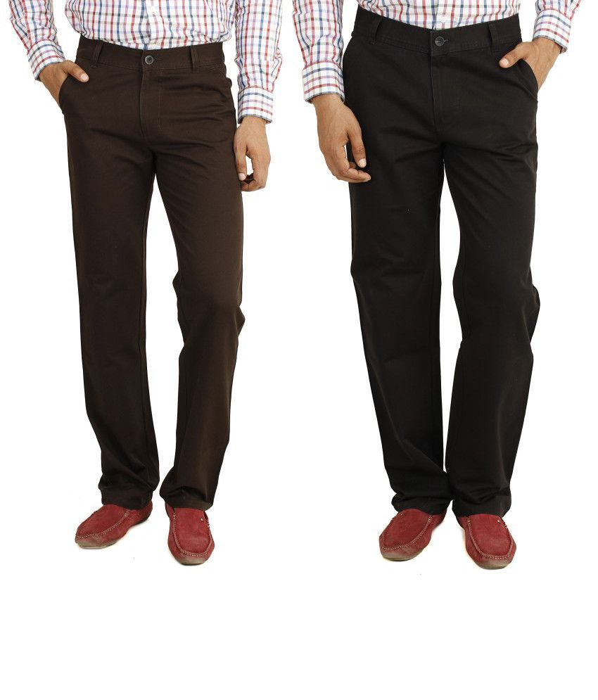 Eprilla Combo Of Brown And Black Cotton Chinos