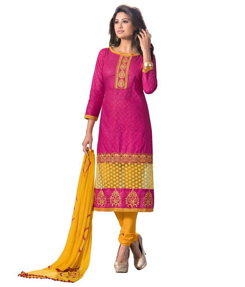 Jk Brothers Pink Chanderi Unstitched Dress Material