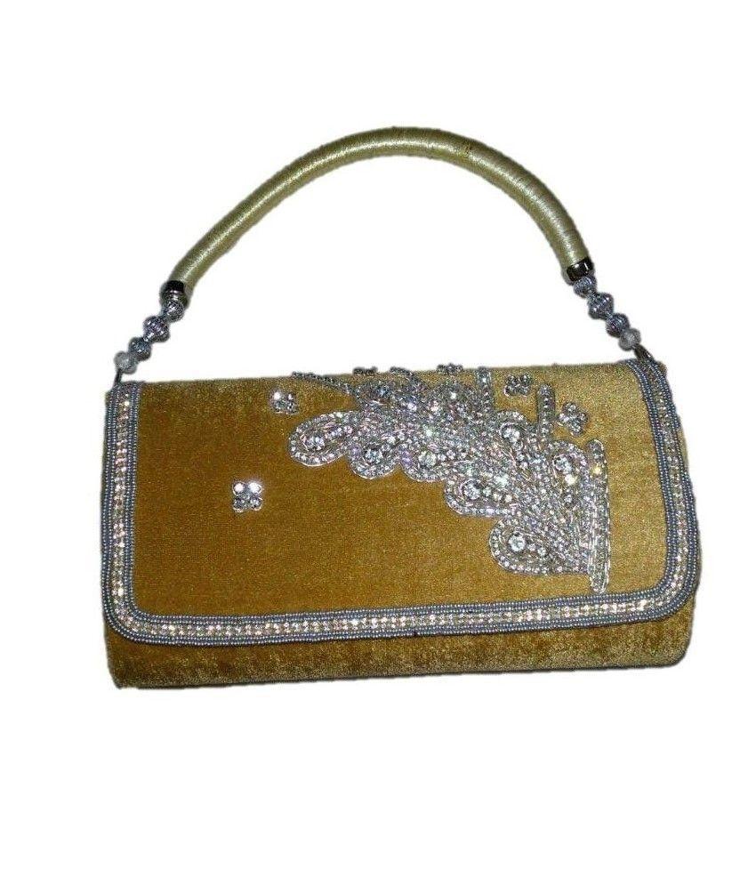 Khurana Purse Gallery Gold Velvet Magnit Button Clutch