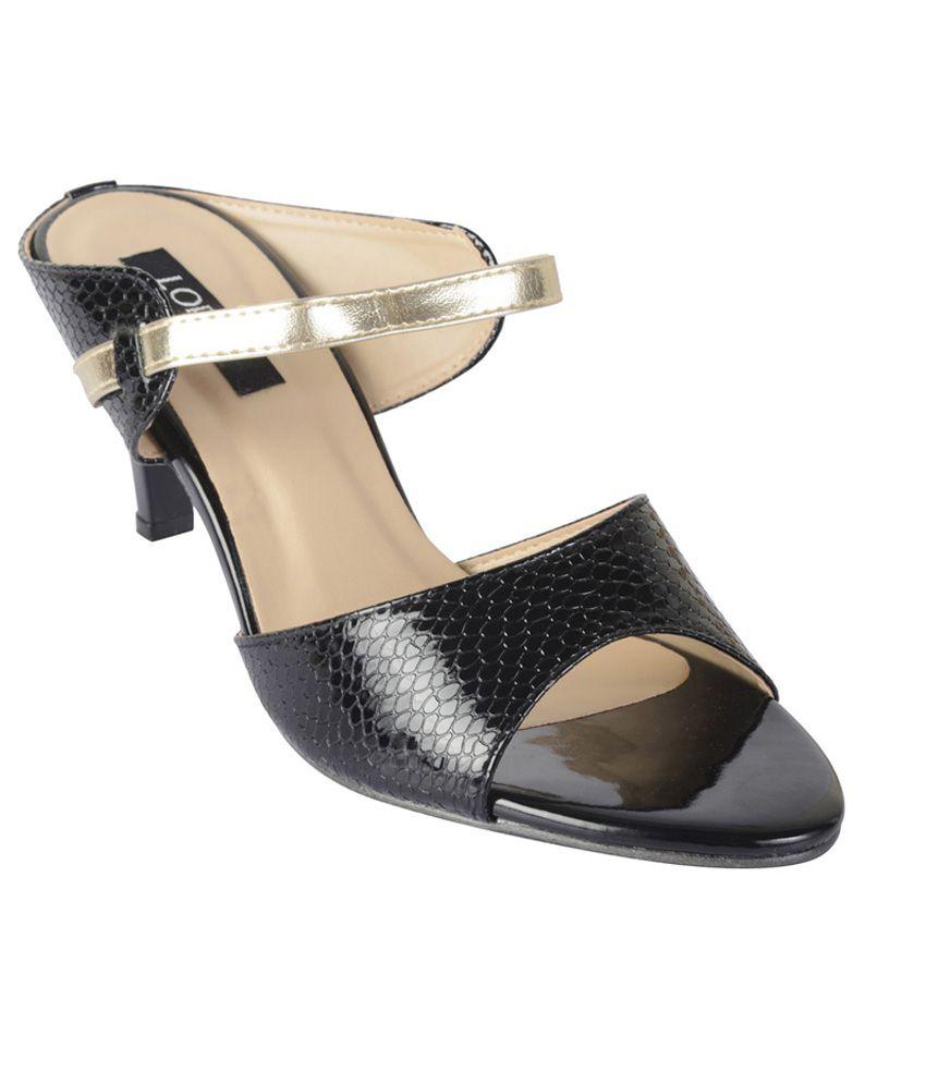 Lord'S Black Medium Heel Slip Ons