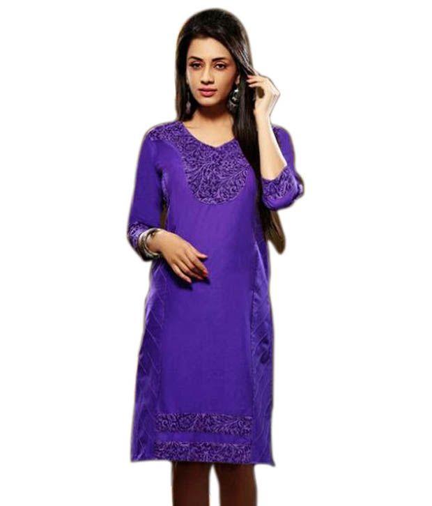 OP Purple Cotton Silk Kurti