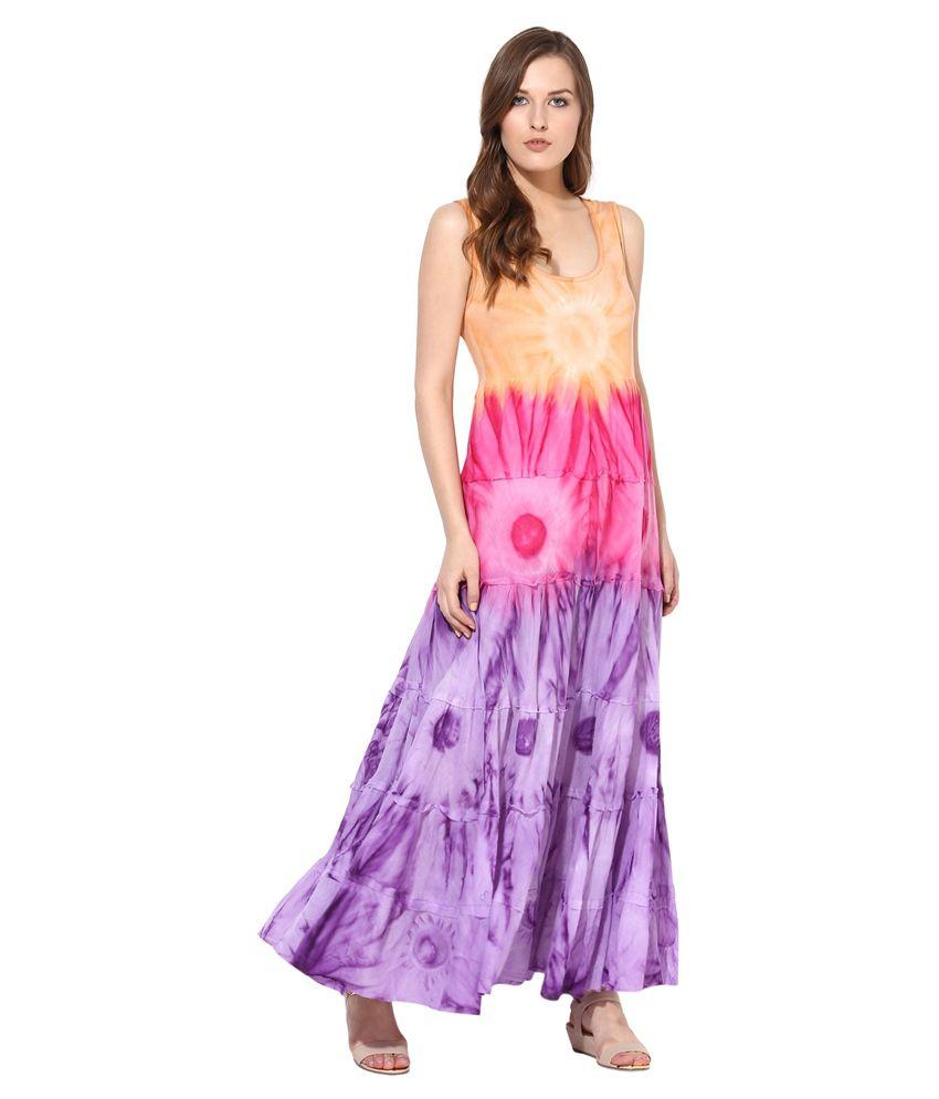 Rose Vanessa Multi Color Cotton Maxi Dress