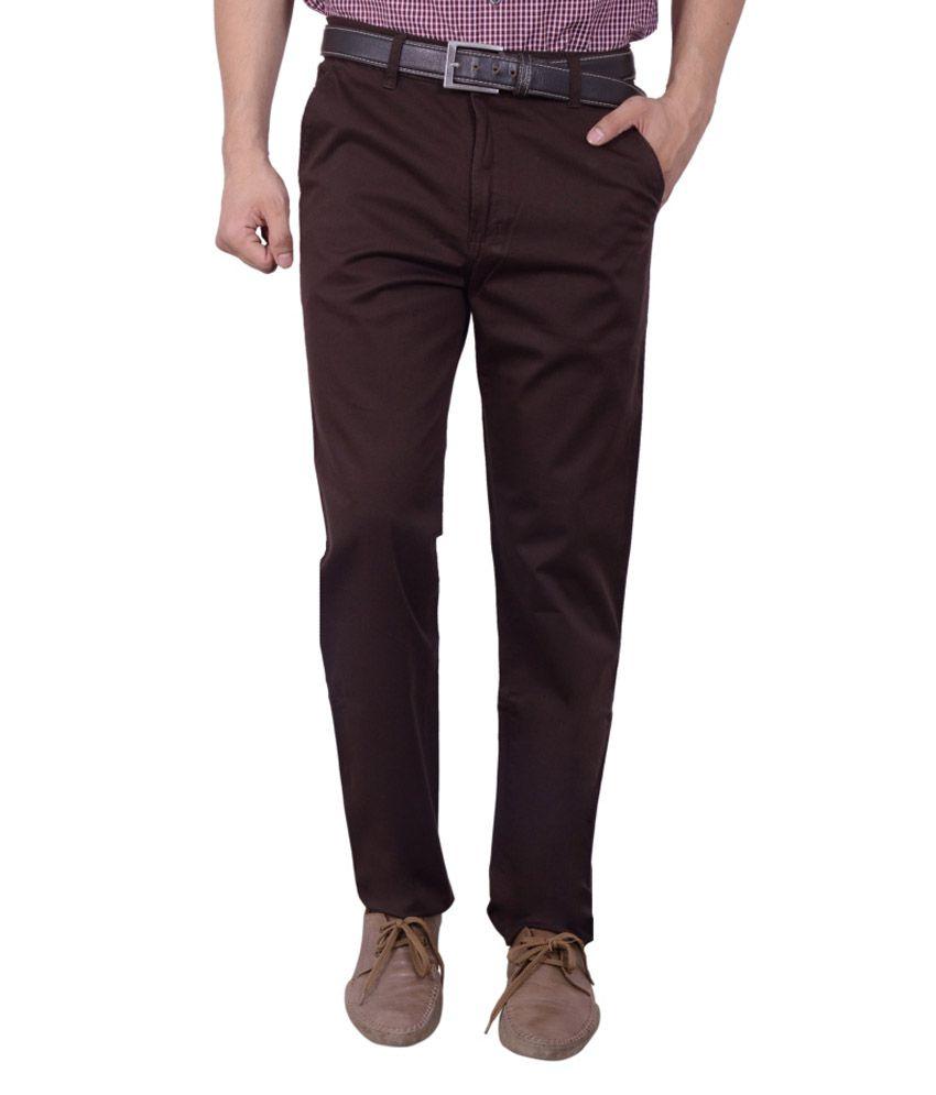 Studio Nexx Brown Cotton Lycra Regular Fit Trouser For Men