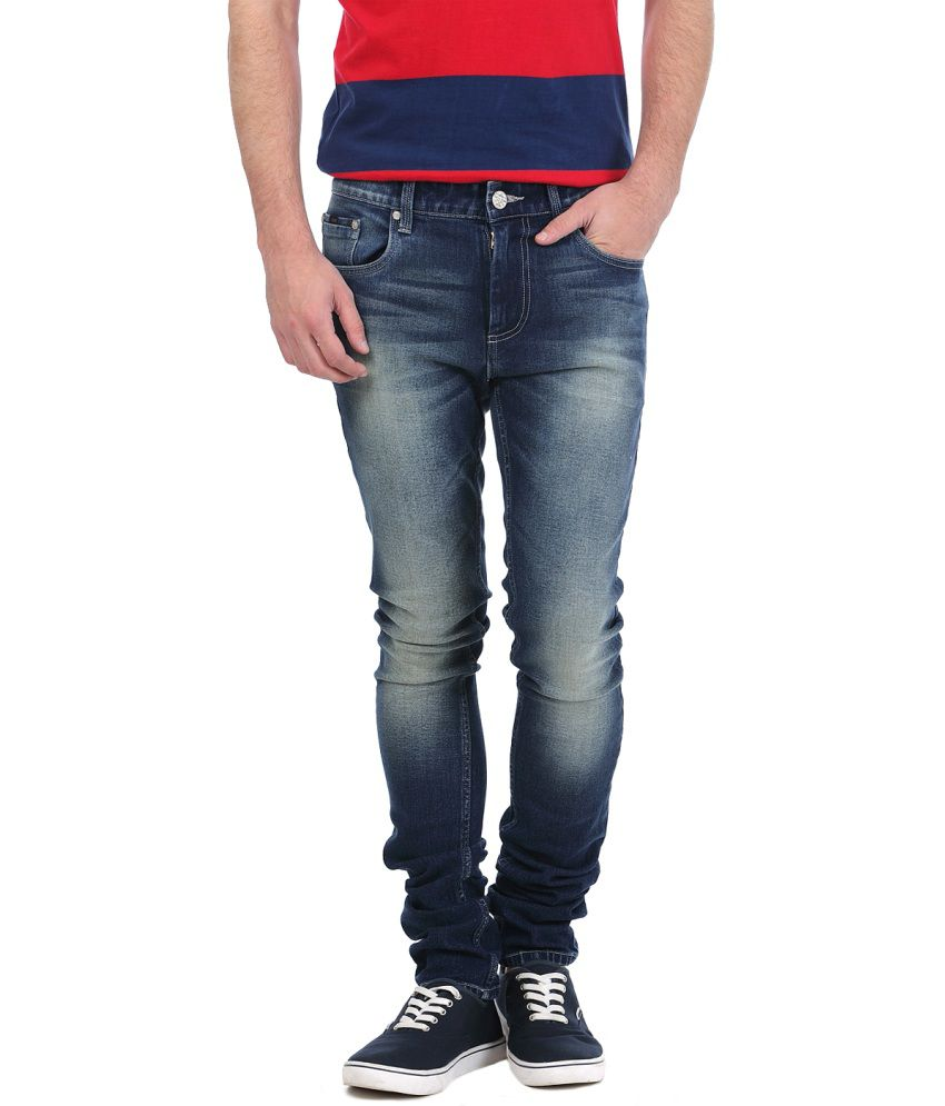 Basics Blue Cotton Blend Jeans