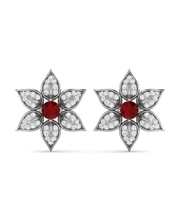 Ciemme Expressive Floral Red Ruby Women CZ Gemstone Earrings in 925 Sterling Silver