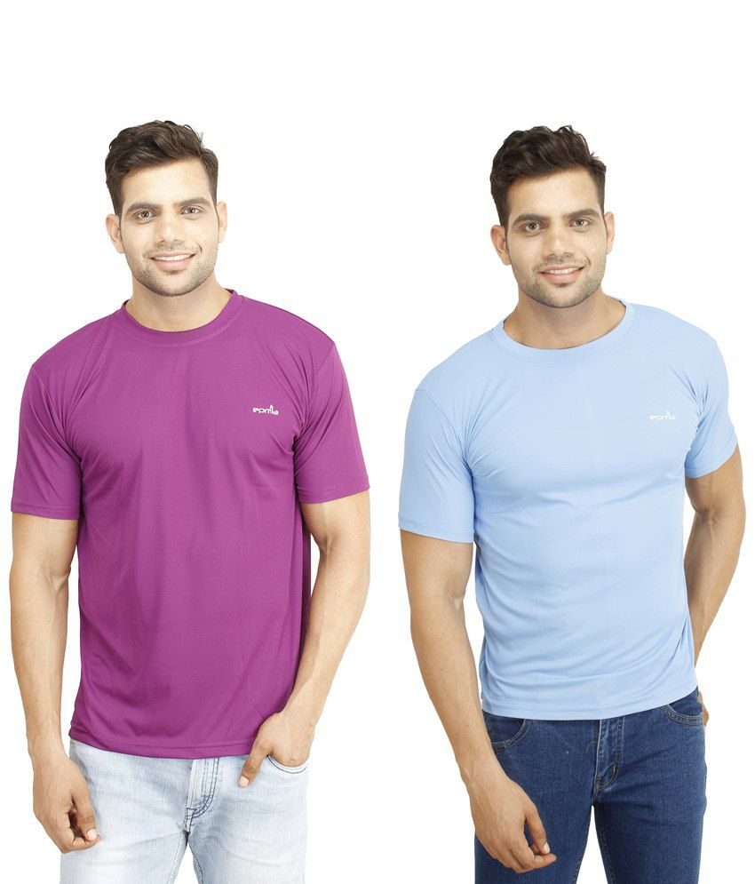 Eprilla Pack of 2 Purple & Blue T Shirts for Men