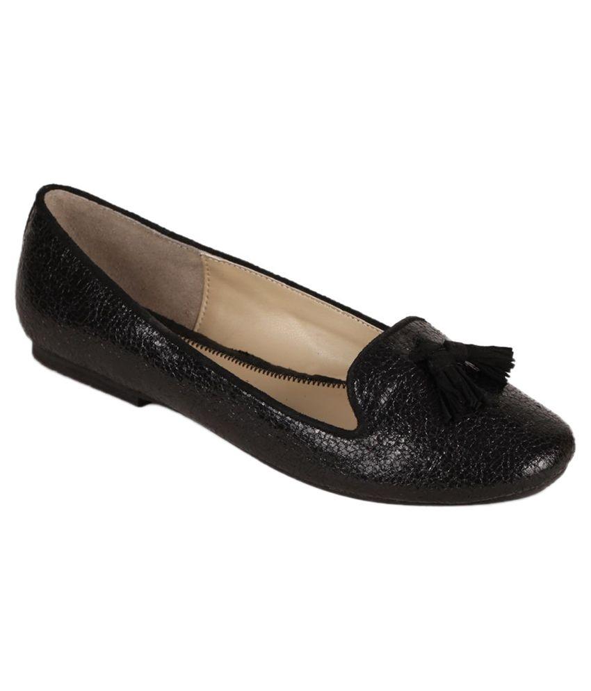 Amica Slexia Black Round Toe Flat Ballerinas