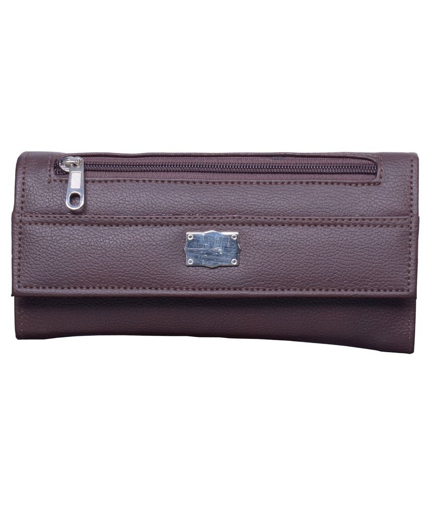 Hysty Brown Leather Regular Wallet for Women