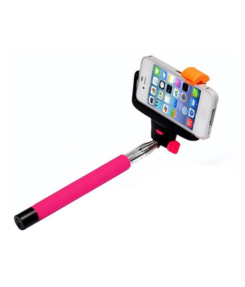 siddhi selfie stick with built in bluetooth shutter pink selfie sticks accessories online. Black Bedroom Furniture Sets. Home Design Ideas