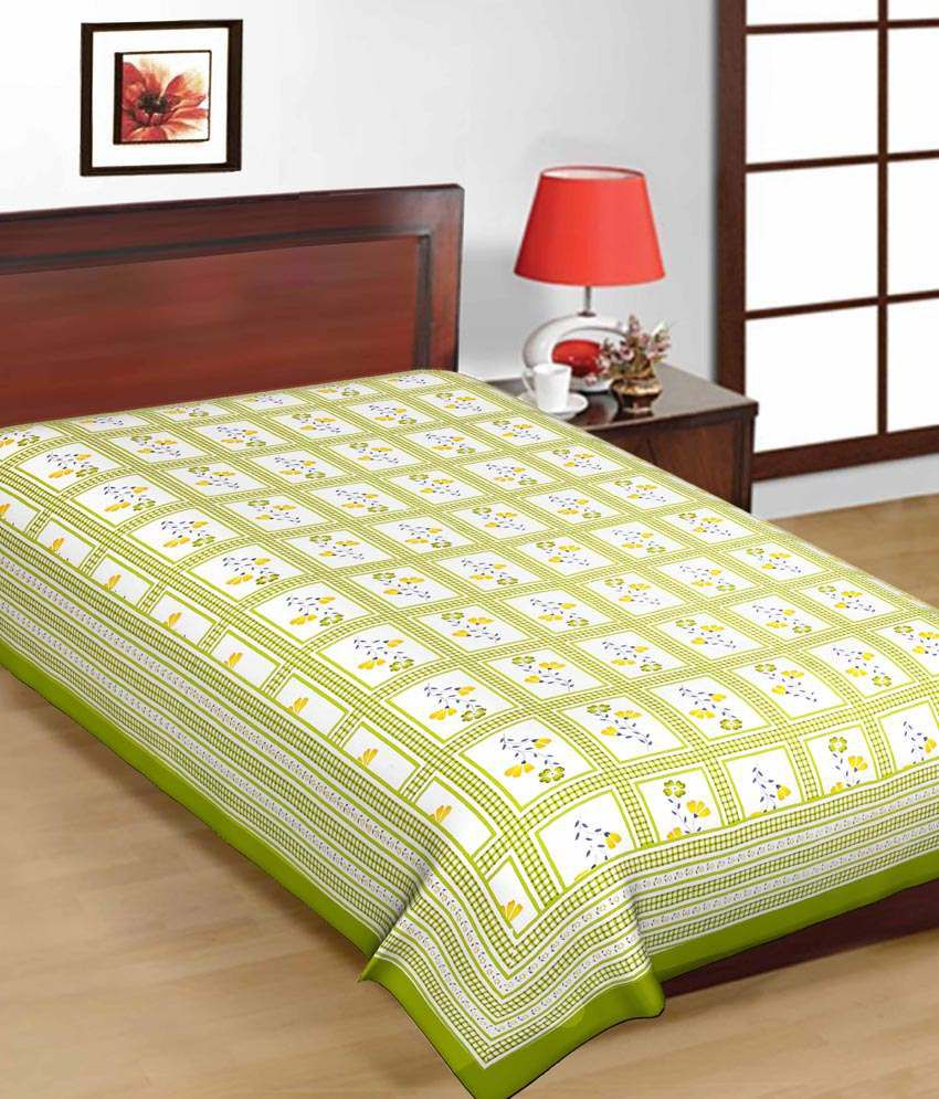 Bed sheets with price -  Uniqchoice Multicolor Cotton Bed Sheet With Jaipuri Print 4 Cotton Bed Sheets