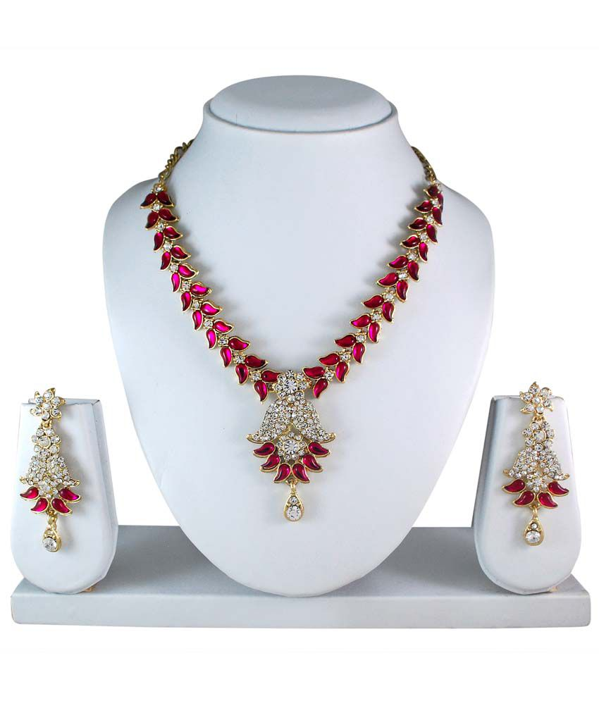 Atasi International Dark Pink Kundan Necklace Set