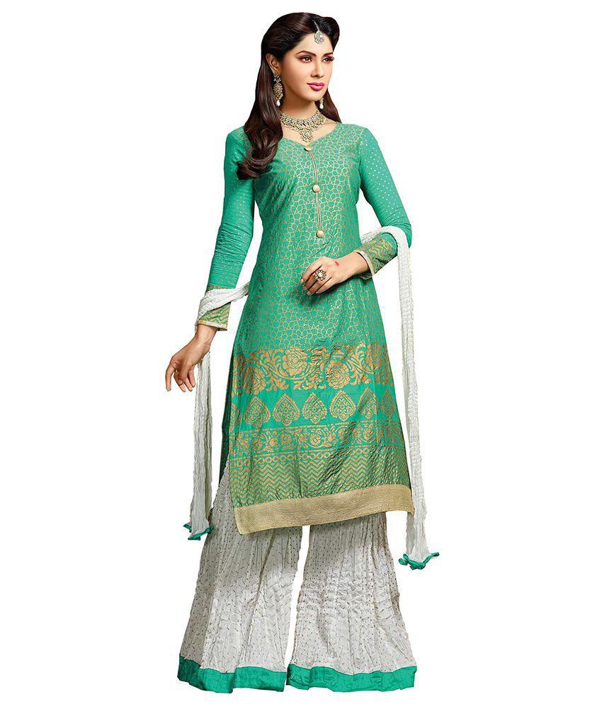 Khushali Green Chanderi Unstitched Dress Material