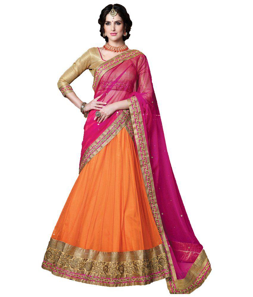 010cc0fbd4 Niharika Orange Net Lehenga - Buy Niharika Orange Net Lehenga Online at Best  Prices in India on Snapdeal