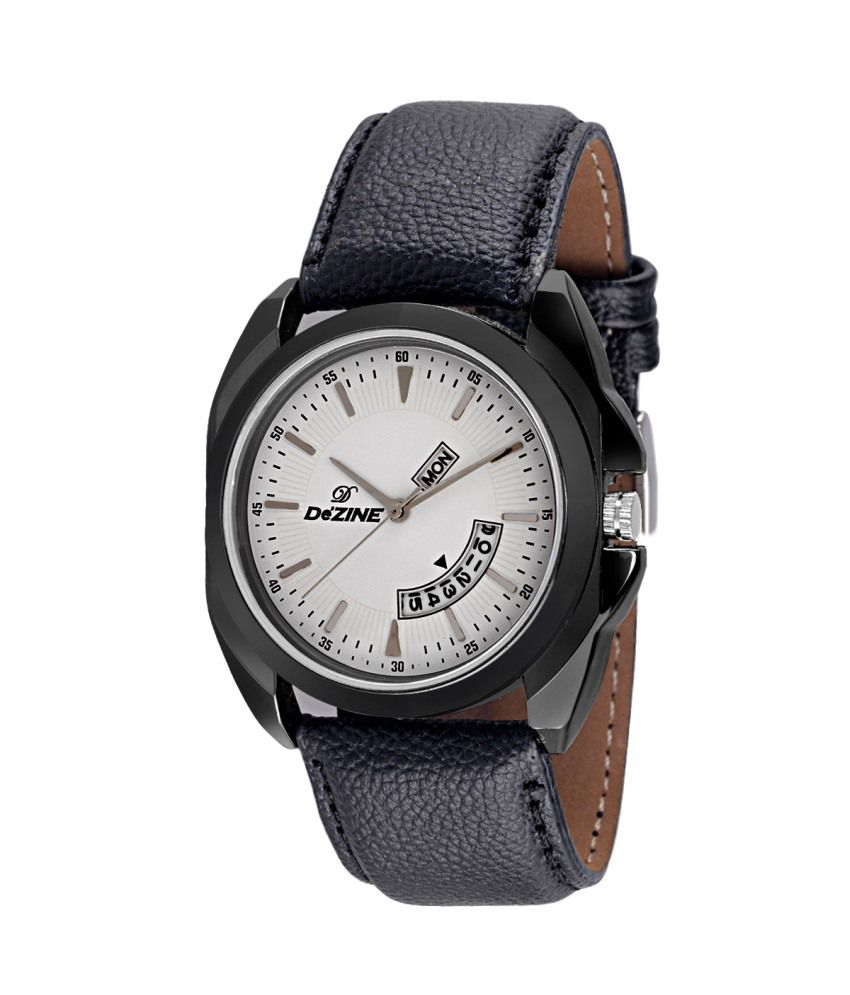 Dezine White Black Synthetic Leather Casual Watches For Men