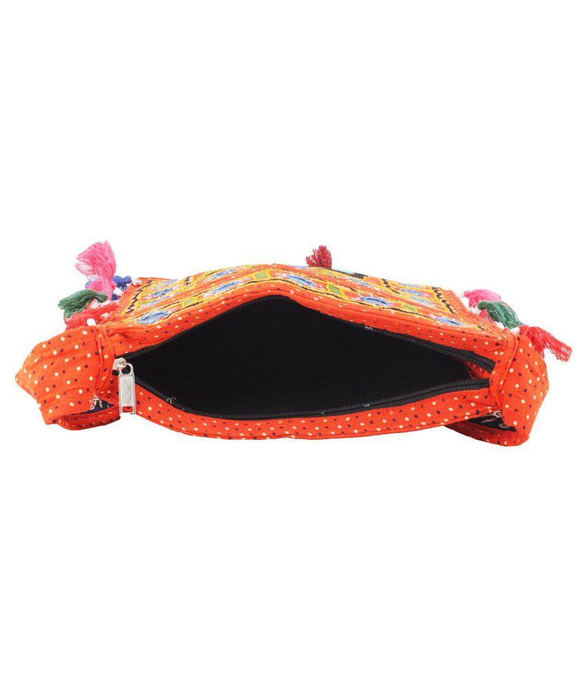 Eminence Orange Rajasthani Embroidered Elephant Traditional Sling ...