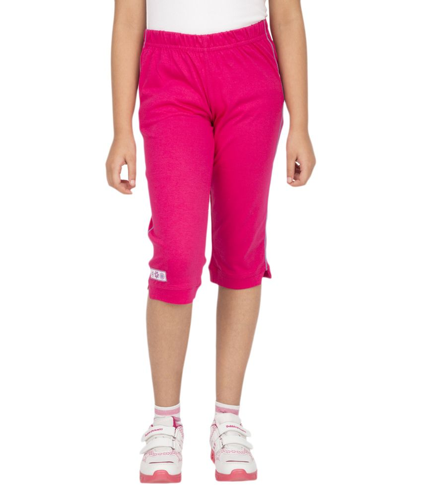 Ocean Race Pink Cotton Solids Capri